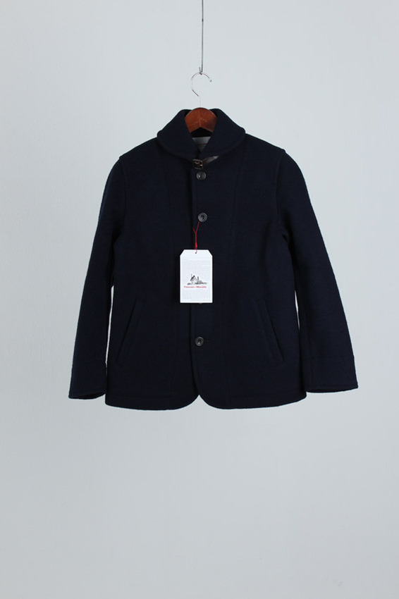 Vincent et Mireille Round Collar Jacket Melton Mossa, Navy (new)